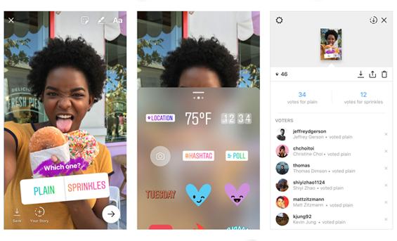 Instagram'a interaktif anket çıkartması
